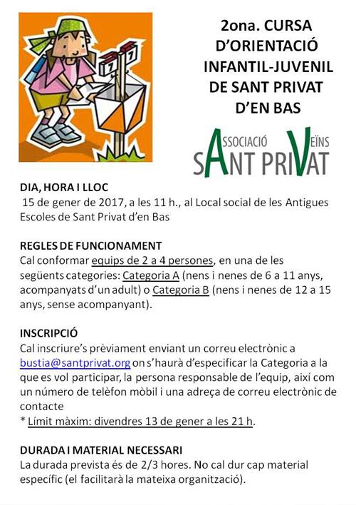 2ona. Cursa d'orientació infantil-juvenil de Sant Privat d'en Bas